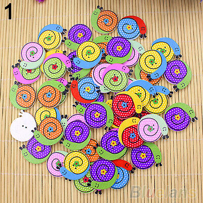 50X Fancy Mixed Sewing Dog Snail Wood Buttons Kids Baby 2 Holes DIY Knopf Bouton