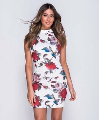 ~SOPHIA~ White Floral Mini Celeb Bodycon Evening Party Dress Size 8 10 12 14