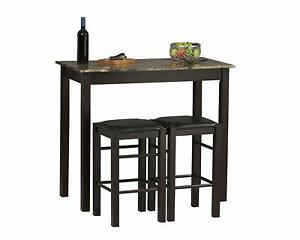Details about Small Kitchen Table w/ Stools Tall Set for High Breakfast Pub  Nook Bar Space Top