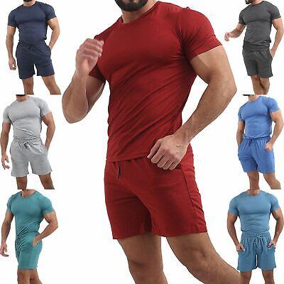 Professioneller Verkauf Men's T-shirt And Short Set Gym Sports Summer Running Sweat Lightweight Outfit äRger LöSchen Und Durst LöSchen