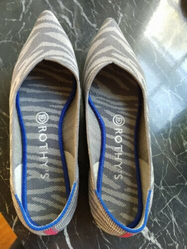Rothys 8 point Grey Zebra Ladies Shoes (running sm