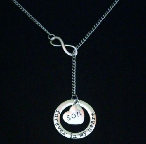 Son Angel Forever In My Heart Memorial Loss Infinity Lariat Style Necklace