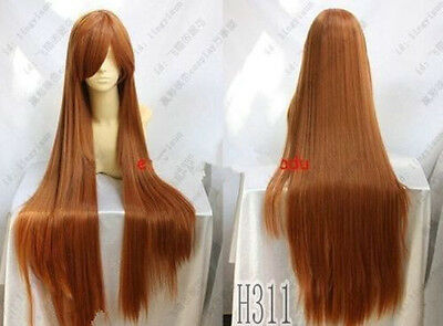 Long Orange Brown Cosplay Party Wig +gift