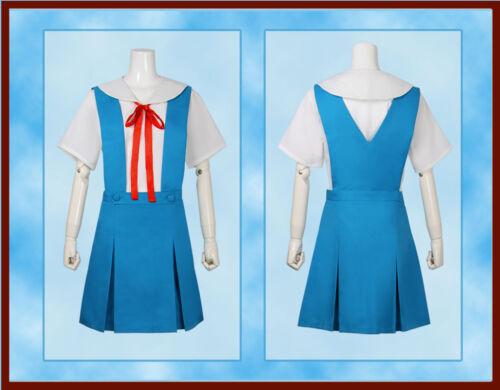 Evangelion EVA Ayanami Rei Asuka School Sailor Cosplay Uniform Dress Costume