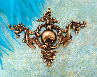 ANTIQUE COPPER Regal Medieval Ornate Corner Stamping ~ Findings (C-1103)