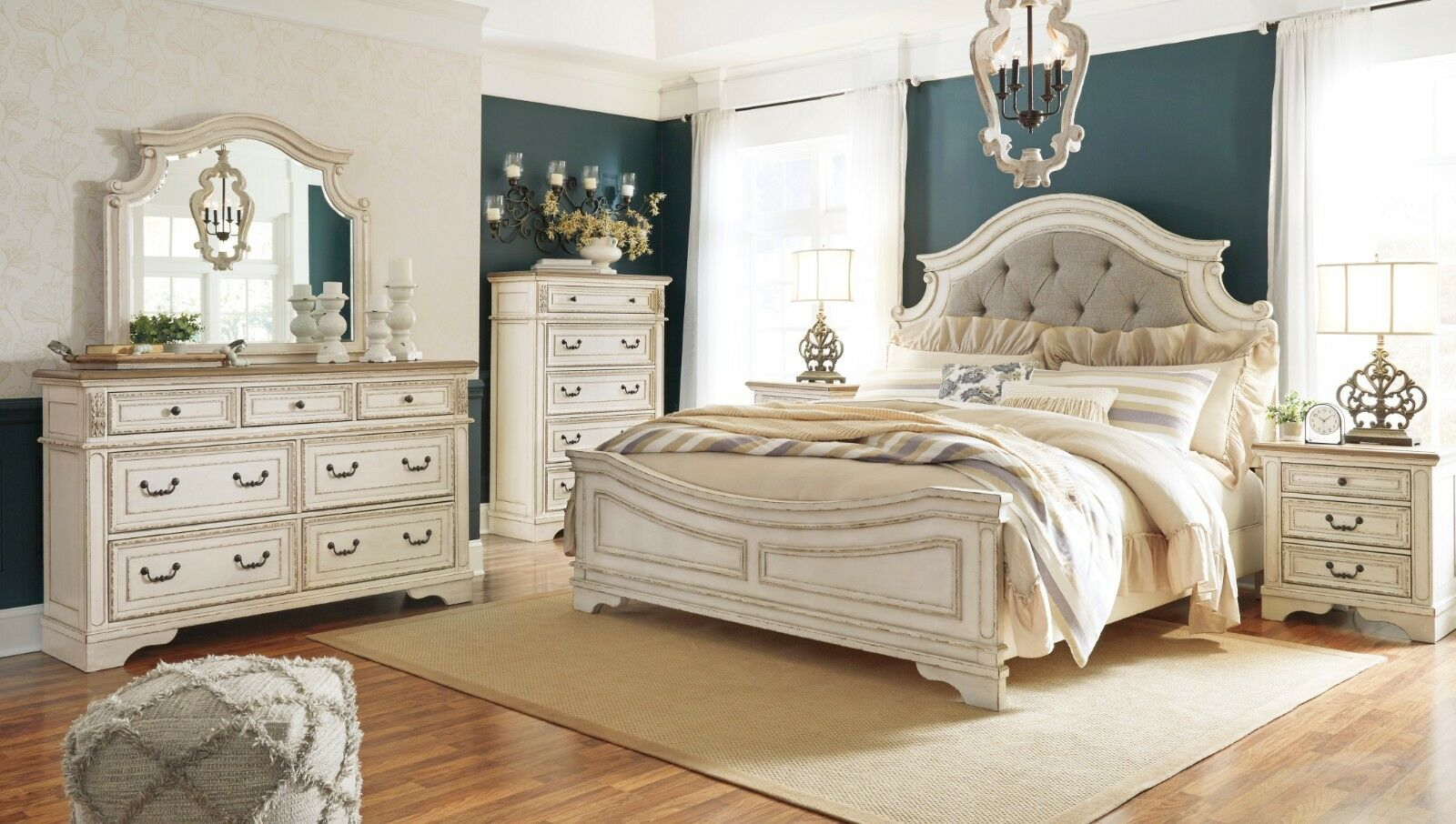Ashley Furniture Realyn Queen 5 Piece Chipped White Bedroom Set