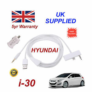For Hyundai i30 iPhone 5 5c 5s Audio Cable & 1.0A USB Power Adapter white