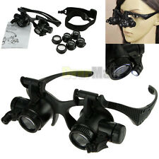 10X 15X 20X 25X LED Double Eye Jeweler Watch Repair Magnifier Glasses Loupe New
