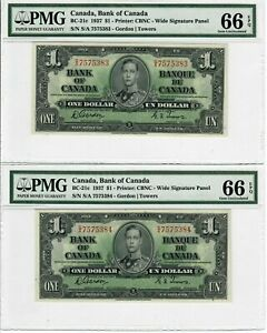 Canada-1-Lot-of-Two-Consecutive-Banknotes-1937-BC-21c-PMG-GEM-UNC-66-EPQ
