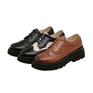 Womens-Block-Low-Heels-Oxford-Pu-Leather-Punk-Lace-Up-Mary-Jane-Shoes-Plus-Size