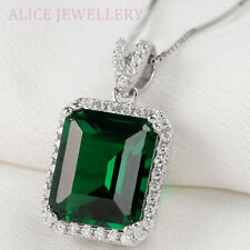 "5.30 Ct Green Emerald White Topaz 925 Sterling Silver Pendant 18"" Chain Necklace"
