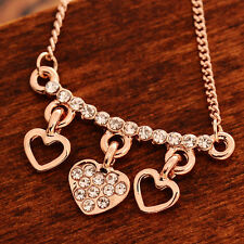 RF 24K Rose Gold Plated Crystal Shiny Three Heart Chain Pendant Necklace