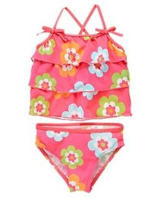 NWT Gymboree Growing Flowers Floral Ruffle Tiers Tankini Two-Piece Swimsuit NEW