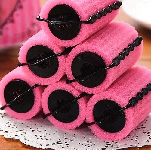 4010 Sleeping Hair Curlers Sponge Hair Roller Large Pear Hair Tool Sponge X6pcs^