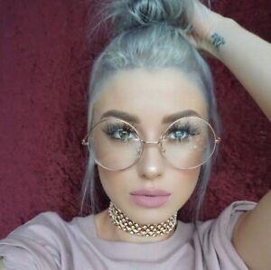 OVERSIZED-Round-Retro-034-Lennon-034-Women-Eyeglasses-Clear-Lens-GOLD-Metal-Frames