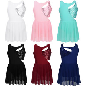 Girl-Gymnastics-Leotard-Dress-Kids-Lyrical-Ballet-Dancewear-Tutu-Skirt-Dancewear