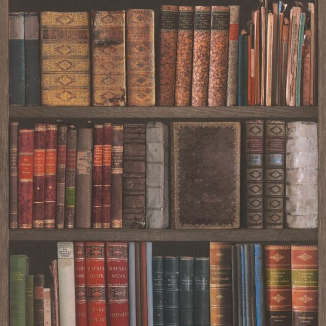 Rasch Library Books Wallpaper 10m 934809 Textured Bookcase Brown Feature Wall