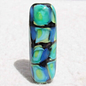JIB Handmade Art Glass Focal Bead Flaming Fools Lampwork Art Glass SRA