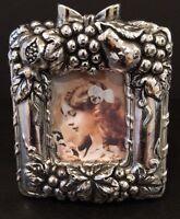 Pewtertone Antique Finished Grapes & Fruit Mini Photo Frame Fits 1-1/2x2