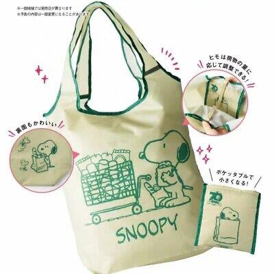 NEW SNOOPY PEANUTS Waterproof Folderabe BIG ECO Bag from Japan Magazine