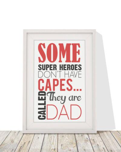 Cadeau pour Papa des super-héros ne portent pas de capes CITE encadrée Imprimer