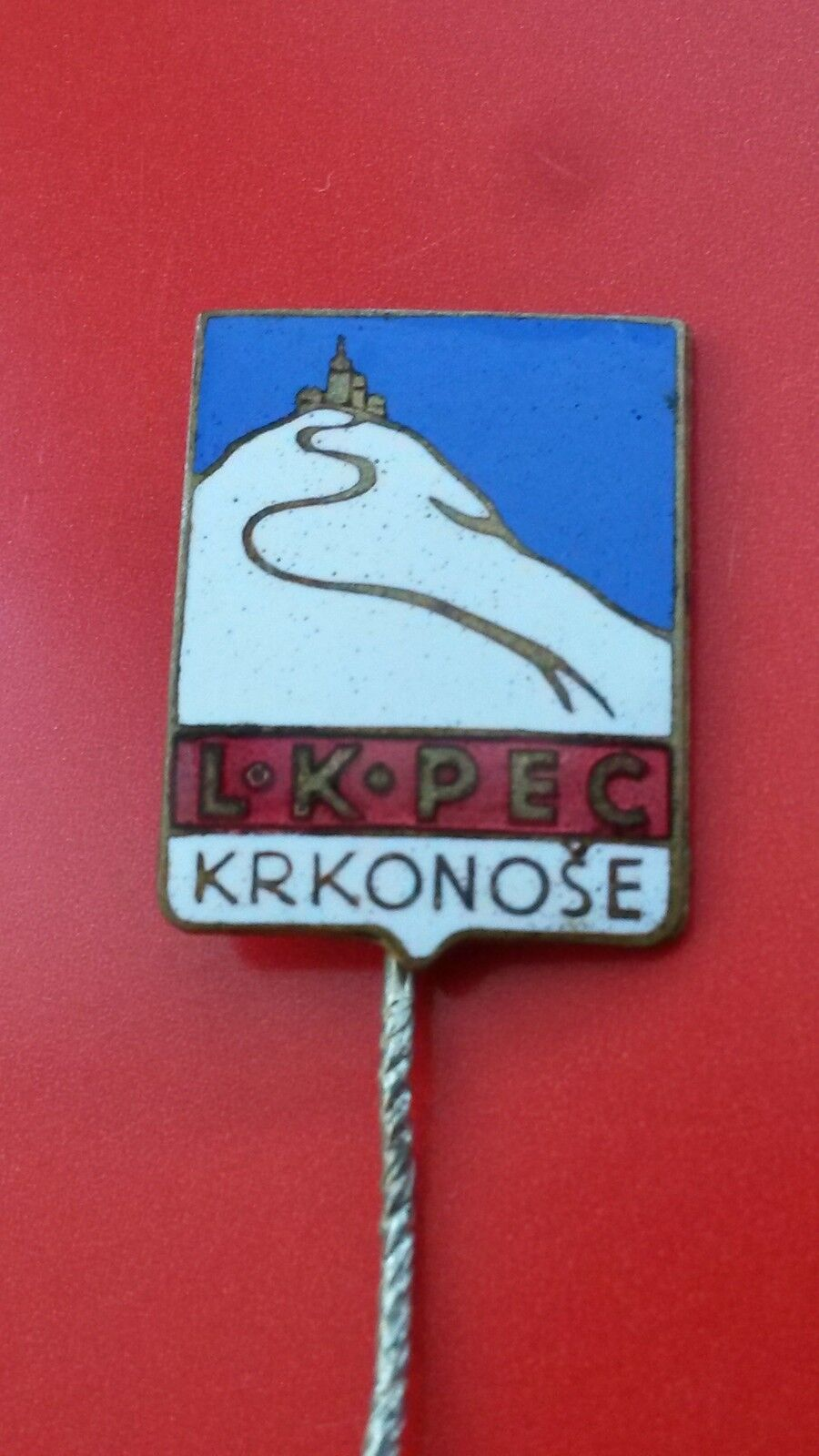 LK Pec Krkonose  ski club vintage enameling badge from 1930´s