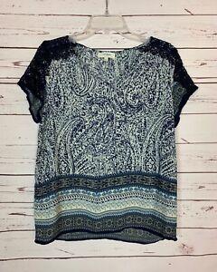 Umgee-Boutique-Women-039-s-L-Large-Navy-Blue-White-Boho-Lace-Short-Sleeve-Top-Blouse