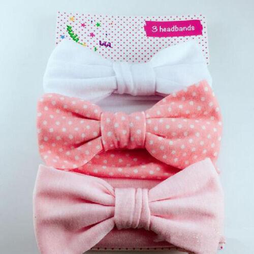 3Pcs New Headband Cotton Elastic Baby Print Floral Hair Band Bow-knot new