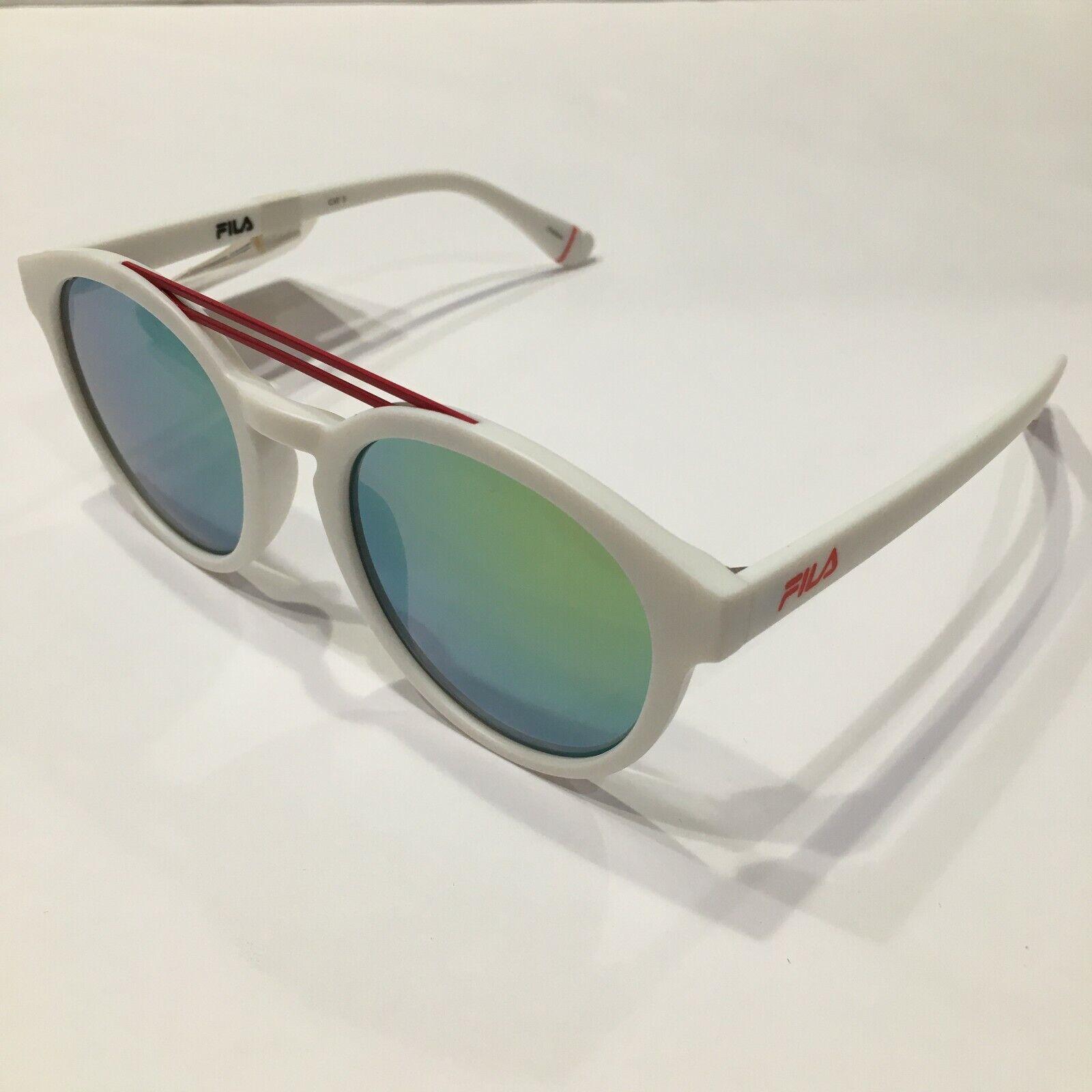 FILA Sunglasses SF9334 6VCR White-Red/Mirrored Green 53 mm Non-Polarized