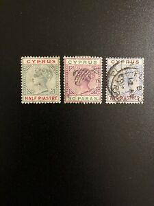 CYPRUS-1894-1896-Lot-of-3-Used-Stamps-Sc-28-29-31