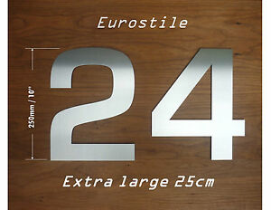 Image Is Loading Extra Large Brushed Stainless Steel House Numbers 25cm
