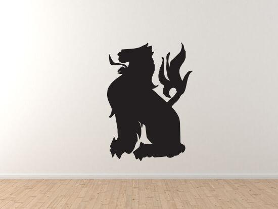 Mythical Creature- Lion European Folklore Heraldic Symbol - Vinyl Vinyl Vinyl Wall Decal 96e350