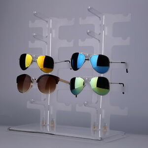 2-Row-10-Pairs-Sunglasses-Glasses-Rack-Holder-Frame-Display-Stand-Transparent-CX