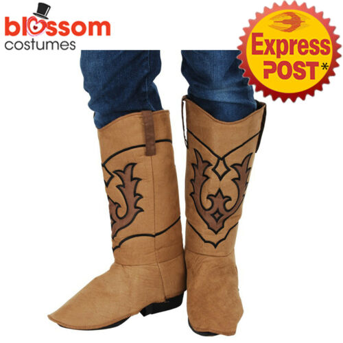 AC801 Brown Cowboy Mens Boot Shoes Covers Western Wild West Costume Accessory