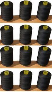 10 Grand Noir 100% Coton Fils, 1000 Yd (environ 914.40 M) Chaque Bobine-afficher Le Titre D'origine