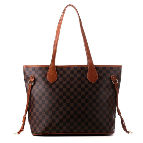 Womens Checked Designer Shoulder Tote Bag Leather Style School Bag College Bags
