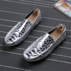 mens leather shiny driving moccasins oxfords casual shoes