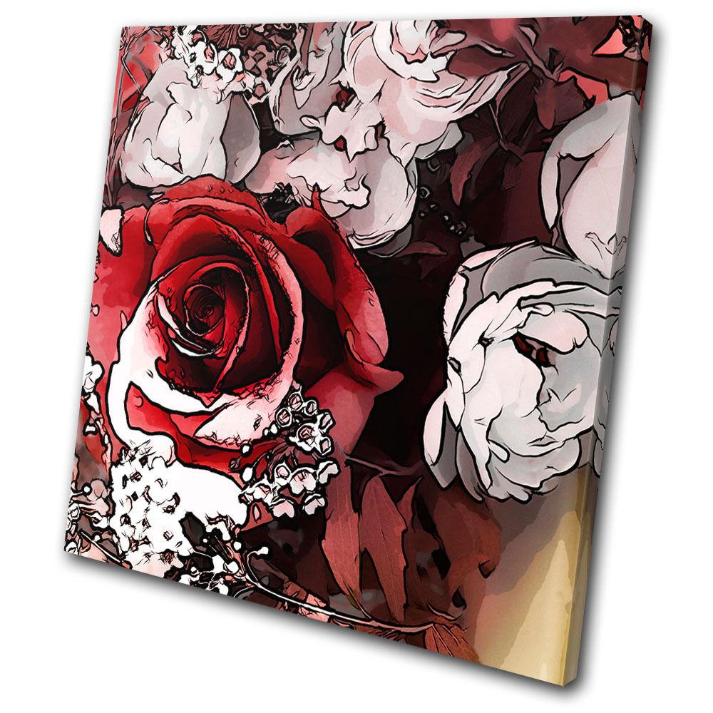 Floral rosa Love Flowers SINGLE TELA parete parete parete arte foto stampa ccb4ab