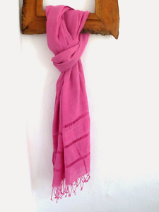echarpe femme echarpe lin bio 100% étole foulard chéche ROSE brodé ... 1f6e9e84050