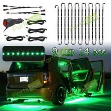14x Green 3 Mode 3528 LED Chips Neon Light Strips Bar Underglow Underbody Kit