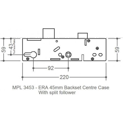Era VECTIS centre cas gear box serrures 5 LEVIER 3453 VDB 45mm backset
