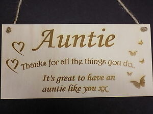 thanks auntie family wooden gift plaque family love sign rustic