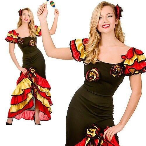 7c2ebd2b0 Spanish Senorita Rumba Salsa Flamenco Dancer Dance Ladies Fancy Dress  Costume for sale online | eBay