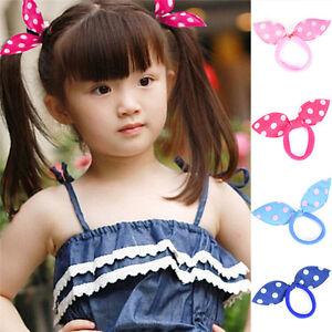 20x-fille-Rabbit-lapin-oreilles-pointilles-cravates-cheveux-chouchou-band-BB