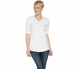 Isaac-Mizrahi-Live-Essentials-V-Neck-Elbow-Sleeve-Tunic-White-XS-A289635