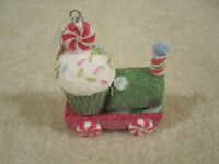 Cupcake Train Ornament Christmas Holiday Peppermint Sprinkles With Tags
