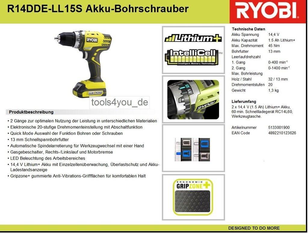 Ryobi Akku Bohrschrauber R14DDE-LL15S / 2x Li-Ion Akku 14.4V / Ladegerät /Tasche