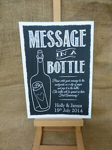 PERSONALISED chalk style MESSAGE IN A BOTTLE sign print guest book ...
