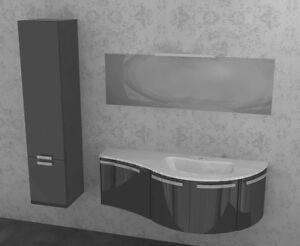 Mobile da bagno curvo moderno sospeso vari colori ly jolly w702 colonna ebay - Mobile bagno curvo ...