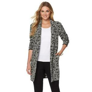 1ba93be580b Faith   Zoe Women s Open Cardigan Knit Cardigan Jacket Black White ...